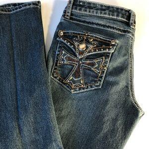 Mudd Girl's Medium Blue Jeweled Embroidery Jeans